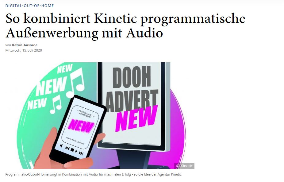 DOOH meets Audio: Die innovative Lösung von Kinetic und GroupM AudioXperts